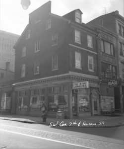 A black and white photograph of 700 Sansom Street in Philadelphia.
