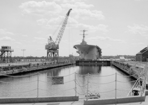 A black and white photograph of dry dock number one at the Philadelphia Navy Yard.