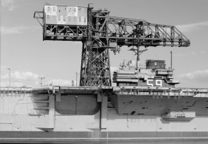 A black and white photograph of the hammerhead crane at the Philadelphia Navy Yard.