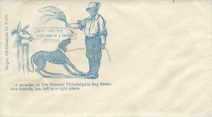 "An envelope with an illustration of an African American holding the leash of a cowering dog in one hand and a switch in the other. Text reads ""Jeff has the feelings of the Prince of Wails"" and ""A member of Jim Francis' Dog Detectives has Jeff in a tight place."""