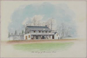 Watercolor depicting the King of Prussia Inn from the mid-nineteenth century.