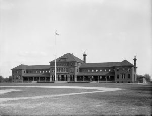 A black and white photograph of the Marine Barracks at the Philadelphia Navy Yard.