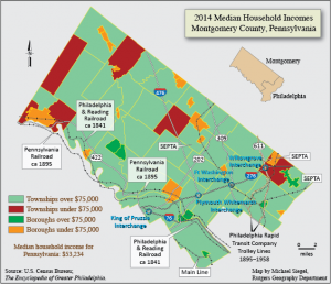 Colorful map representing household income. Map is in the shape of Montgomery County. The key notes that areas filled in with green make over $75,000 in household income and areas in red or orange make less than $75,000. Most of the map is green, but red and orange areas are visible, mostly neat the borders of the county map.