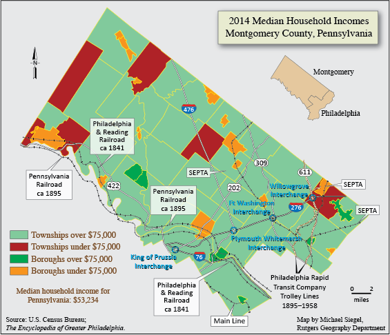 Montgomery County Median Household Incomes, 2014 ... on county map of pennsylvania, county map of florida, county map of eastern pa, county map of united kingdom, county map of milwaukee, county map of long island, county map of lancaster, county map of delaware county, county map of rhode island, county map of baltimore, county map of burlington, county map of dallas, county map of northern california, county map of st. louis, mo,