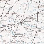 Highway map with Mount Holly in the center