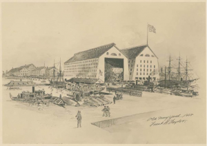 A drawing of the buildings and soliders at the Philadelphia Navy Yard in 1864.