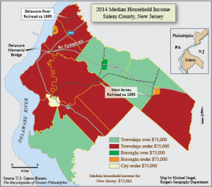 Map of income levels in Salem County in 2014
