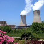 a color photograph of the Limerick Nuclear Power Plant. A rectangular generator building and two prominent cooling towers are visible in the background with steam rising from them. In the foreground there is green foliage and a shrub with pink flowers.