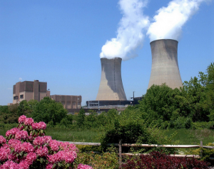 a color photograph of Limerick Nuclear Power Plant. Steam rises from two large cooling towers.
