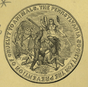 the seal of the Pennsylvania Society for the Prevention of Cruelty to Animals showing an angel preventing a cart horse from being beaten by a man..
