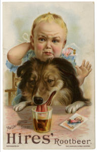 A color illustration of a collie-type dog lapping root beer from a glass. Behind him there is a child with a look of sadness on his face. Text reads