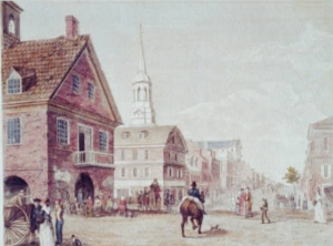 A color illustration of market street as it appeared in the late eighteenth century. The old Court House and Christ Church are seen on the left.
