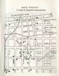 "a hand-drawn map of an area of Philadelphia just northwest of Independence National Historical Park. The map has hotels, Independence Mall, and other landmarks denoted. The areas north of Spring Garden Street and surroundingIndependence Hall and  are labled ""redevelopment area""."