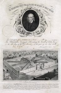 a membership certificate for the Pennsylvania Prison Society. Top half is dominated by a vignette portrait of Bishop William White. Below the portrait is an illustration of Eastern State Penitentiary, a prison complex of eight long halls connected to a central hub. The building is surrounded by a stone wall.