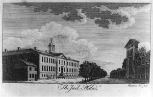 A black and white illustration of Walnut Street Prison
