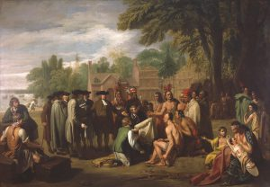 a painting depicting the traditional story of William Penn's peaceful meeting with the Lenni Lenape on the banks of the Delaware