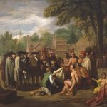 a color painting portraying the traditional meeting between William Penn and the Lenni-Lenape on the bank of the Delaware River.