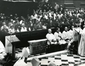 Papal Legate James Cardinal Knox addresses the congregation prior to the opening Mass at the Cathedral Basilica of Saints Peter and Paul on August 1, 1976 during the 41st annual Eucharistic Congress in Philadelphia.