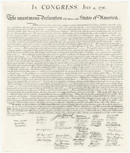 Print of the William J. Stone engraving of the Declaration of Independence.