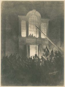 A drawing of the Liberty Bell being welcomed back to Philadelphia after a cross-country tour.