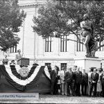 Photograph of the dedication of the Francisco de Miranda statue on July 1, 1977 in front of the Franklin Institute.