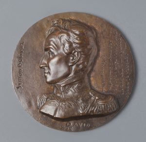 Photograph of a medallion depicting General Simón Bolívar of Venezuela.