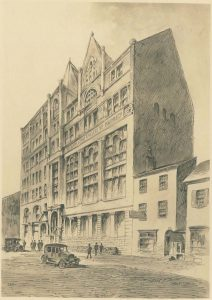 This black and white drawing shows the exterior of the Philadelphia College of Pharmacy. A few 1920s-era cars are parked on the street and some people pass by on the sidewalk.