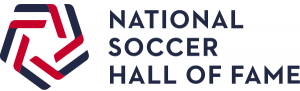 This image shows the logo for the National Soccer Hall of Fame. Its minimalist design resembles a soccer ball - five red and blue lines approach a central point and the white space gives the illusion of a complete shape.