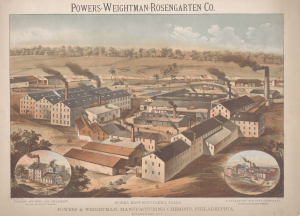 This color advertisement shows the full campus of the Powers-Weightman-Rosengarten Company at Schuylkill Falls. Many lage factory buildings with smokestacks are visible. The image also includes small close-ups of the Tartaric and Citric Acid Department and the Laboratory for Fine Chemicals.