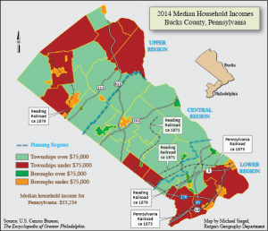 This color map shows Bucks County's median household incomes by region. The Central region largely contains townships and boroughs with median incomes above $75,000, while the upper and lower regions generally fall below this amount.