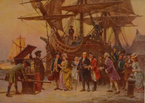 This is a painting of Benjamin Franklin arriving home in Philadelphia. Franklin stands proudly in front of a grand wooden ship, surrounded my citizens welcoming him home.