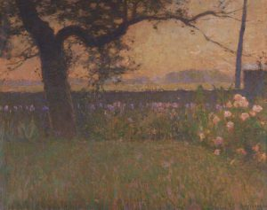 This color painting by William Langson Lathrop shows a tree surrounded by purple and white flowers.