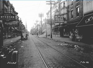 A view of South Fourth Street spanning from South Street to Christian Street in 1936.