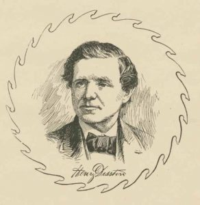 This black and white illustration shows saw manufacturer Henry Disston. He is framed within the shape of a saw and his signature is shown directly below him.