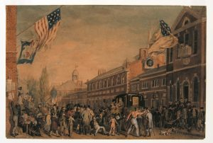 An illustration of a large crowd of men in front of Independence Hall on election day in 1815. American flags fly prominently from several buildings.