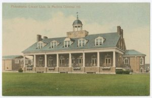 A color postcard of the Philadelphia Cricket Club's grounds and clubhouse.