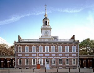 a color photograph of Independence Hall