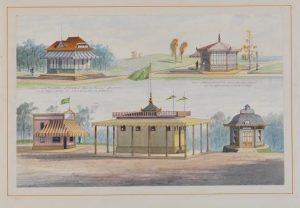 Five pavilions of different architectural styles at the 1876 Centennial Exposition