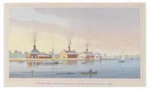Watercolor depicting Dyottville glass works factory on the Delaware River with boats in foreground.