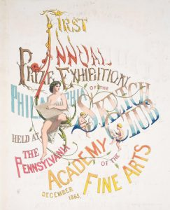"Color print featuring cherubs drawing and text that reads ""first annual prize exhibition of the Philadelphia Sketch Club held at the Pennsylvania Academy of the Fine Arts""."