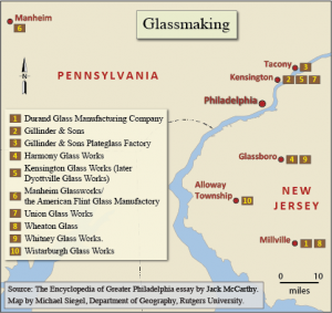 Color map indicating locations of major glass makers in the Greater Philadelphia Region