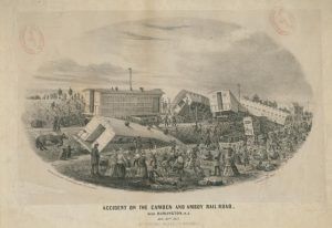 Black and white lithograph depicting a twisted train wreckage, injured animals, and a crowd gathering to observe the scene.
