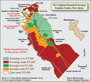 a colored map of Camden County depicting the average median household income in the county's towns and cities