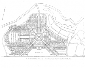 an overhead simplified line drawing of the Yorkship Village neighborhood of Camden. Houses, streets, parks, and rivers are illustrated.