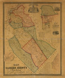 a colored map of Camden County in 1857 with major rail lines, turnpikes, cities, and townships marked.