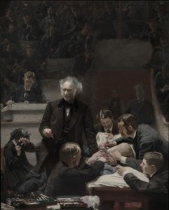 Oil painting depicting a surgeon surrounded by assistants in an amphitheater performing an operation on a patient's thigh.