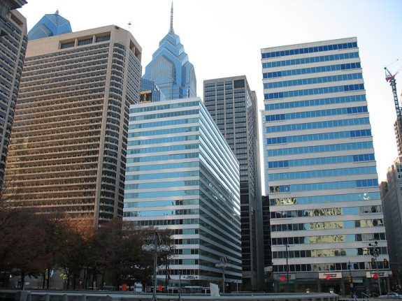 Photograph of the high-rise buildings that make up the Penn Center complex.