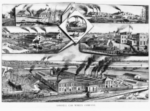 A black and white illustration of the Lobdell Car Wheel Company's facories as they appeared in the late nineteenth century. The factories has numerous smoke stacks with billowing smoke arising from several connected buildings. Railway cars travel through covered sheds in the foreground. Vignettes above show earlier factories owned by the company.