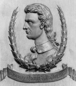 Daniel Pastorius depicted in a bas relief sculpture