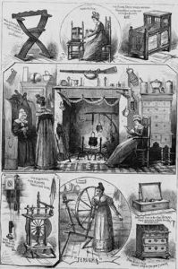 A black and white illustration with multiple small vignettes depicting the colonial farm-house exhibit that was built for the Centennial Exposition. These vignettes are a cradle, a women sitting in high-backed chairs in front of a fireplace with cooking pots, and a woman operating a spinning wheel